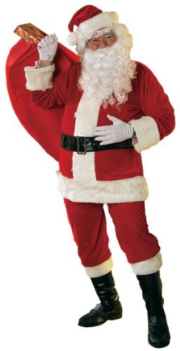 Rubie's Velour Santa Suit With Beard And Wig, Red/White, - With Halloween Costumes Guys For Glasses