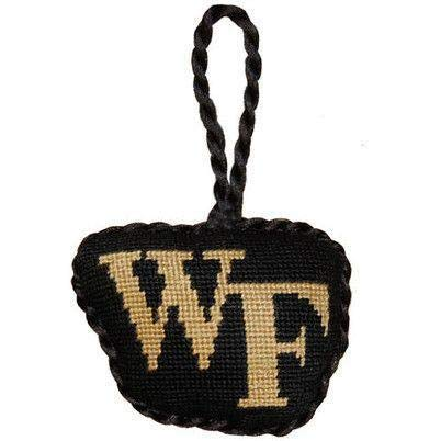 Wake Forest Needlepoint Christmas Ornament in Black by Smathers & Branson
