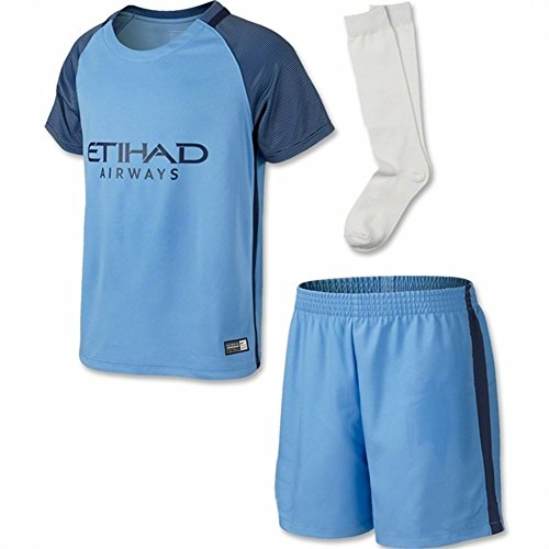 City Soccer Jersey (2016 2017 Manchester City FC DIY Name and Number Home Football Soccer Jersey In Blue For New Season For Kid Youth)