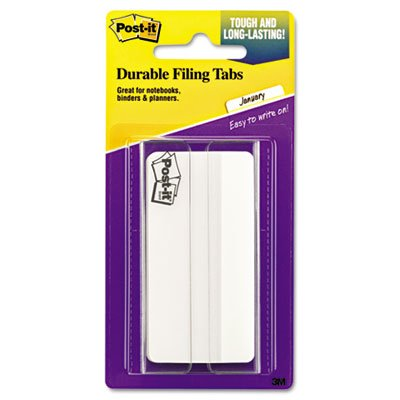 Durable File Tabs, 3 x 1 1/2, White, 50/Pack, Sold as 50 Each