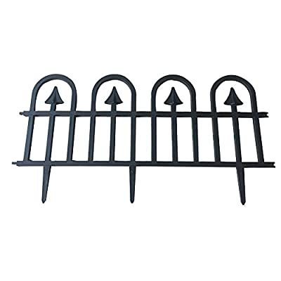 ABBA ECO Recycled Plastic Decorative Gothic Arch Garden Fence Border and Edging Sction Set-6 Pack, Black