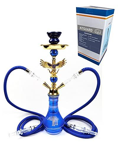 Kitguard,Integral Hookah Set,Water Pipes for Smoking,Steel & Acrylic Shisha, Two Hoses (Horse & Elephant) (Blue 2)