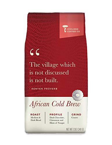 Cold Brew Coffee Coarsely Ground, Africa Kenyan Blend, Medium Dark Roast, Premium Arabica Coffee Beans (12oz vented - African Cocoa