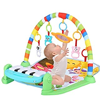 Baby Play Mat Activity Gym, Baby Crawling Game Pad with Piano Music Pedal and Fitness Rack with Hanging Toys, Lay to Sit-Up Early Development Activity Centers for Infants and Toddlers (Green)