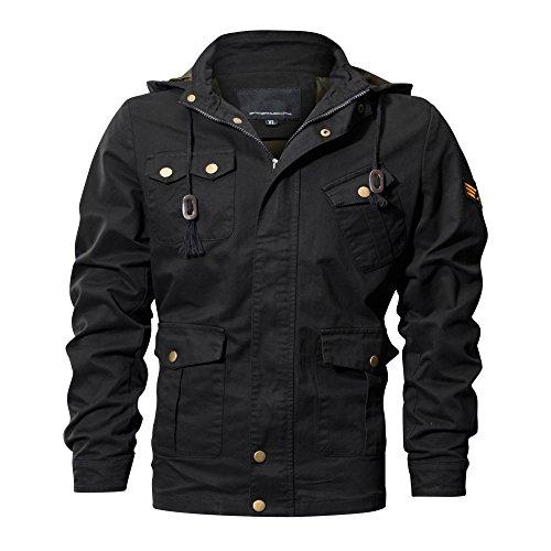 CRYSULLY Men's Autumn Casual Warm Stylish Urban Classic Cargo Coats Sportswear Bomber Jackets Black
