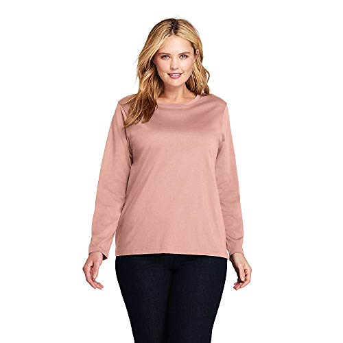 (Lands' End Women's Plus Size Supima Cotton Long Sleeve T-Shirt - Relaxed Crewneck, 2X, Cameo)