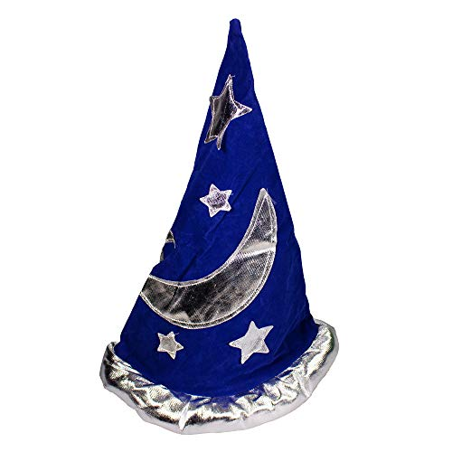 Blue Velvet with Silver Star Magical Wizard Party Hat
