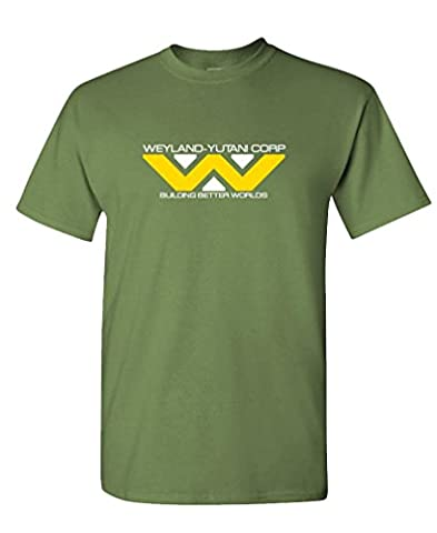 WEYLAND YUTANI - 80's retro horror movie Tee Shirt T-Shirt, 2XL, Army - 80's Movie T-shirt