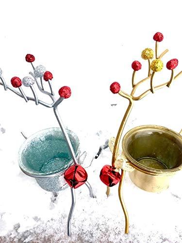 Reindeer Votive - Choice of Silver Glitter or Metallic Gold Paint