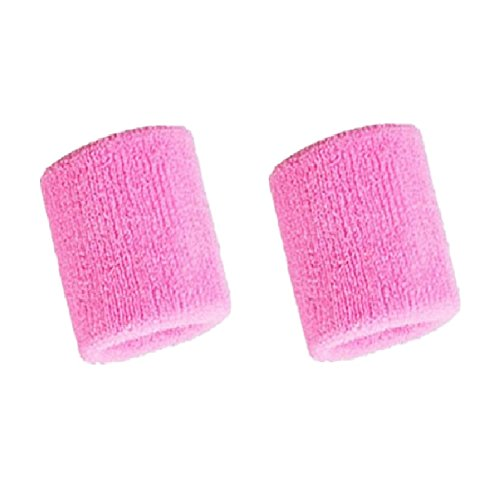 (Mcolics 3' Inch Wrist Sweatband in 11 Different Colors - Athletic Cotton Armbands (1 Pair) (Pink))