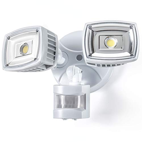 Home Zone ES00730U Security LED Motion Sensor Flood Lights Outdoor Weatherproof Ultra Bright 5000K, White