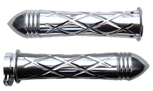 Yana Shiki CA3261PR Chrome Criss-Cross Style Curved Design Grip with Pointed Ribbed End Caps
