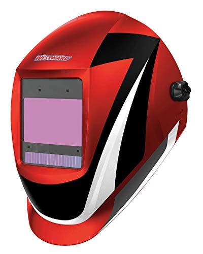 Westward Auto Darkening Welding Helmet, Black/Red/White, Professional-Digital, 5 to 8, 8 to 13 Lens Shade - 44R233
