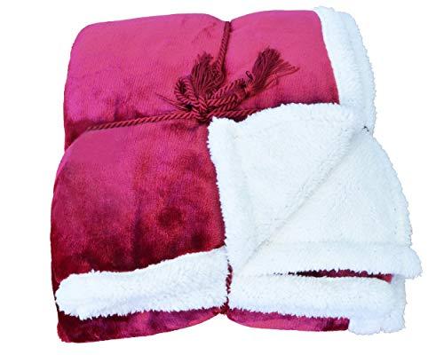 Napa Super Soft Micro Mink Fleece Sherpa Bed Throw TV Blanket 50 x 60 Reversible Wine ()