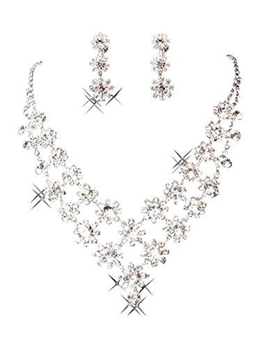 bling bling design élégant strass en cristal clair exclusive mariée collier et boucles d'oreilles bijoux ensemble