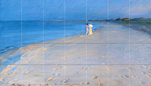 Tile Mural Ladies on the beach by Peder Severin Kroyer Kitchen Bathroom Shower Wall Backsplash Splashback 7x4 4.25'' Ceramic, Matte by FlekmanArt