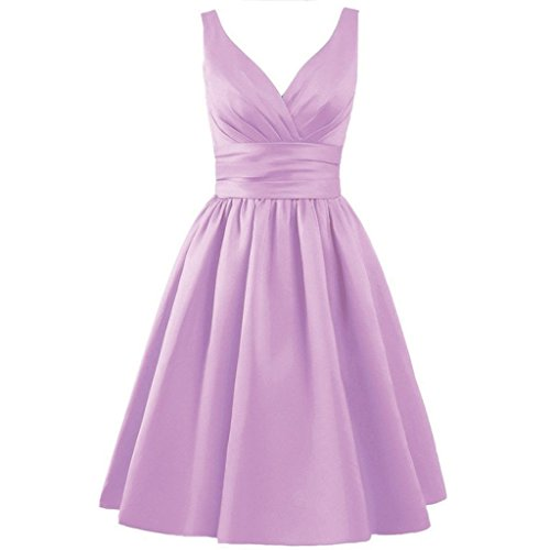 MuNiSa Women's V-neck Knee Length Lace Up Bridesmaid Party Homecoming Dress US4 Lilac