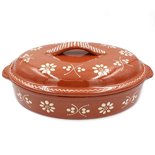 Portuguese Hand-painted Clay Terracotta Roaster Casserole Cazuela with Lid