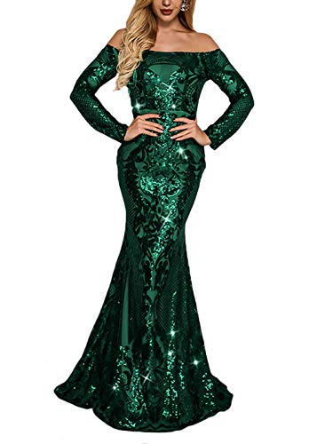 (Yissang Women's Off Shoulder Floral Sequined Sparkle Party Evening Cocktail Mermaid Maxi Long Dress Prom Gowns Green Medium)