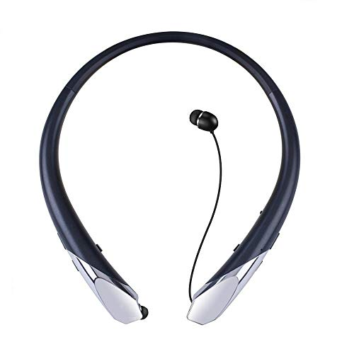 Bluetooth Headsets, Wireless Neckband Headphones Retractable Earbuds Sports Sweatproof in Ear HD Stereo Noise Cancelling Earphone with Mic by Mikicat(15 Hours Play Time) (Black)