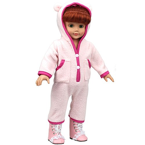 Hatoys Baby Care Cute Cartoon Baby Doll Clothes Custom Design Pajamas Outfit For 18 Inch American Girl Doll (Pink)