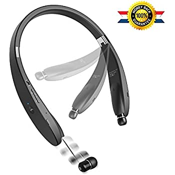 Bluetooth Headset Bluetooth Headphone Wireless Neckband Design with Retractable Earbud for iPhone, Android, Other Bluetooth Enabled Devices