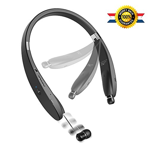 Bluetooth Headset Bluetooth Headphone Wireless Neckband Design with Retractable Earbud for iPhone, Android, Other Bluetooth Enabled Devices (Ear Hands Clip Free Bluetooth)