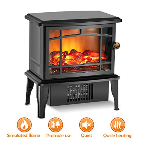Cheap TRUSTECH Portable Electric Fireplace Stove Space Heater Advanced Heating System Instant Warm Adjustable Realistic 3D Flame &Quiet Fan Overheat Tip-Over Protection Easy Moving Indoor Outdoor Use Black Friday & Cyber Monday 2019