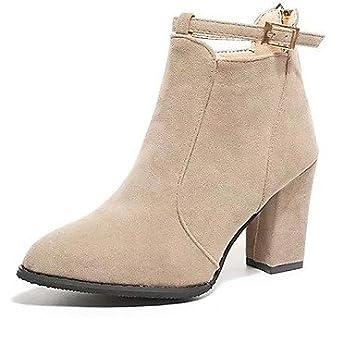 Chaussures à fermeture éclair kaki Casual femme fuZIMN