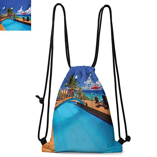 (Beach Drawstring backpack series Swimming Pool Coastal Seascape Beach with Palm Trees Holiday Travel Resort Image Convenient choice for daily activities W13.8 x L17.7 Inch Multicolor)