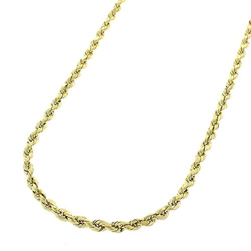 Verona Jewelers 10K Gold 2MM Diamond Cut Rope Chain Necklace, Braided Twist Chain Necklace, 10K Rope Chain, 10K Gold Rope Chain Necklace (22, 2MM) ()