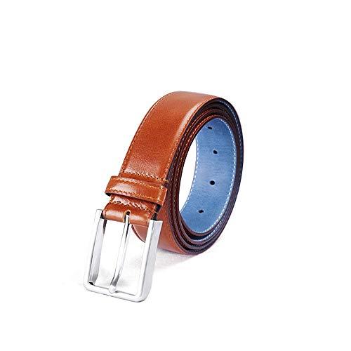 Men's Leather Belt Classic Men's Belt Dress Casual Pants Jeans Business Pants Universal Belt Single Claw Buckle Solid Color Pin Buckle Belt (Color : Light Brown, Size : 105 ()