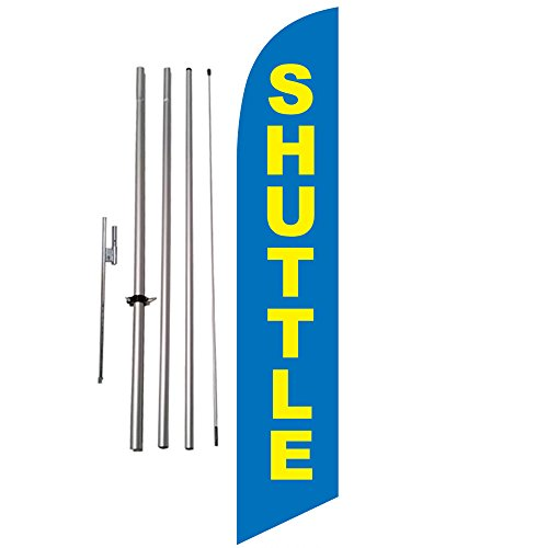 Shuttle Location Marker 15ft Feather Banner Flag Kit w/ Ground Spike Review