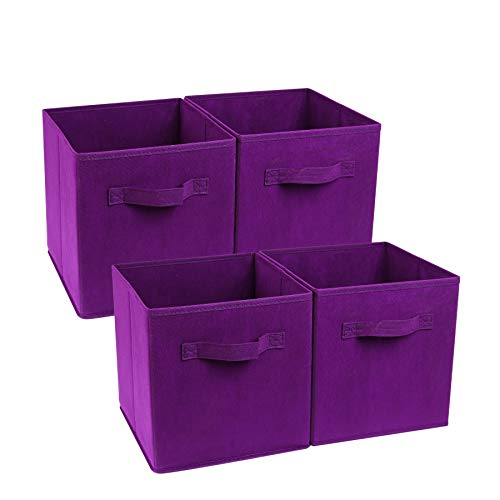 Zonyon 4-Cube Heavy Duty Storage Container, Foldable Fabric Storage Cube,Basket,Bookshelf Organizer,Nursery Hamper with Handle for Women,Men,Kids,Toys,Bedroom,Closet,Office,11''X11''11'',Purple ()