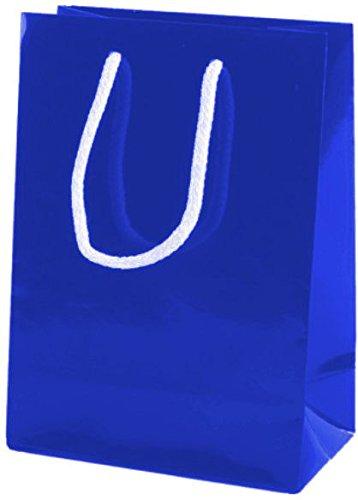 Thepaperbagstore 20 Bolsas Pequeñas De Papel para Fiestas Y Regalos, Brillantes, con Manijas De Cuerda - Azules - 150x220x80mm