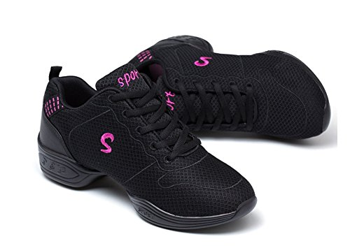 de Modern Xia Dance transpirable casuales Fitness zapatos 35 zapatos Qiu de la mujer 39 black de Square malla mujer zapatos de baile de WX deportes qRwOvdZq
