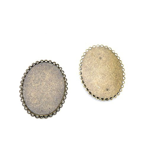 Price per 10 Pieces Jewelry Making Supply Charms Findings Filigrees F7RX5S Oval Cabochon Setting 40x30MM Antique Bronze Findings Beading Craft Supplies Bulk Lots