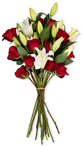 Benchmark Bouquets Red Roses and White Oriental Lilies, No Vase (Fresh Cut Flowers)