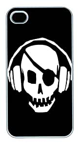 IPhone 4S Cases Pirate Skull Dj HAC1014396 Polycarbonate Hard Case Back Cover for iPhone 4/4S White