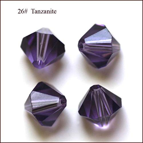 Calvas Wholesale Grade AAA 5301 5328 3mm 4mm 5mm 6mm 8mm 10mm 30 Color Crystal Bicone Beads 100pcs/Bag - (Color: Tanzanite, Item Diameter: 6mm)