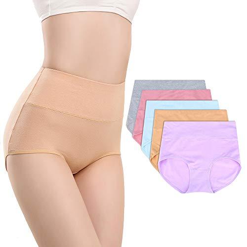 (Jremreo Women's Cotton Underwear, High Waist Solid Color Soft Briefs Panties for Women)