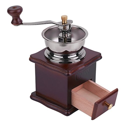 Creative Practical Manual Coffee Grinder Coffee Antique Hand Mill Wood Coffee Grinder with Large Capacity Drawer Kitchen Tools