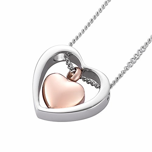 Double Heart Ash Necklace Urn Ashes Keepsake Memorial Pendnat Cremation Jewelry (Silver and Rose Gold)