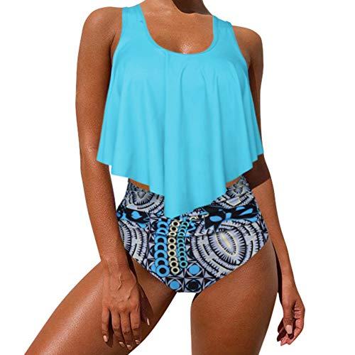 MOOSLOVER Women's Cute Ruffle Bikini Top High Waisted Print Two Piece Swimsuit(M,Blue-3)