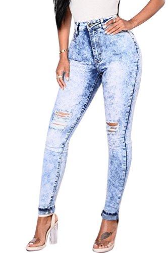 Zojuyozio Les Femmes Les Taille Haute, Jeans Dchir Trou Jeans Skinny Digne Blue