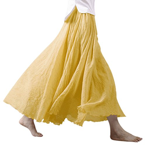 Ezcosplay Women Bohemian Cotton Linen Double Layer Elastic Waist Long Maxi Skirt (95CM, Yellow) (Linen Stretch Skirt)