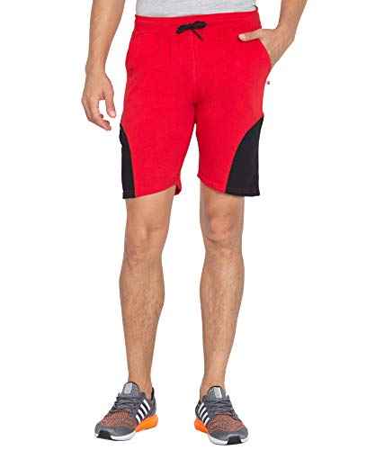 Kissero Men Red Solid Cotton Running Shorts