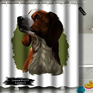 Randell Shower Curtain American English Coonhound Decoration Bathroom Shower Curtain 72x78 3