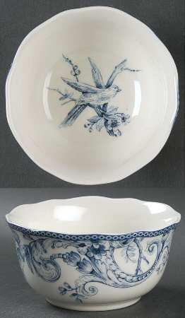 222 Fifth Adelaide Blue & White Cereal Bowls, Set of 4