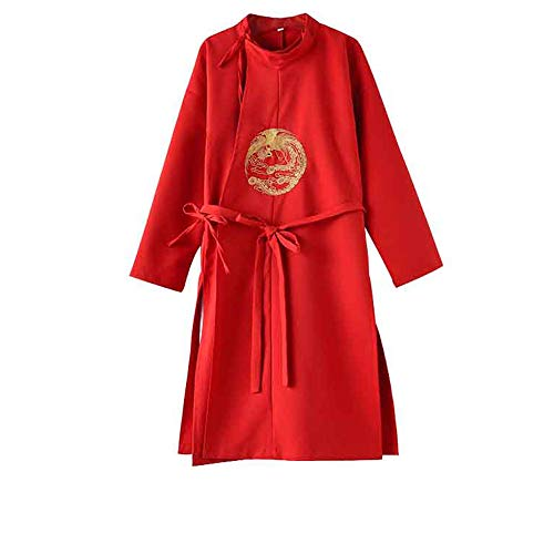 Dynasty Shoulder Pad - FXNN Hanfu - Chinese Style Tang Dynasty Round Robe Costume (Color : Red, Size : 150cm)